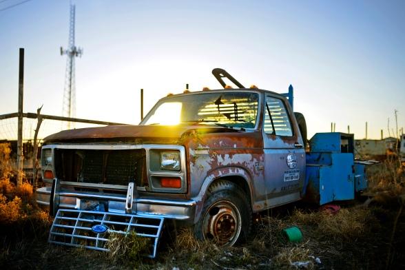 Rusty oil field truck - Oil downtown wild art