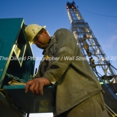 Geoffrey Spencer tests the viscosity of mud used in the drilling process, April 11, 2018, on Trinidad Rig 433 operated by Fasken Oil and Ranch north of Midland, Texas. CREDIT: James Durbin / TheOilfieldPhotographer.com MIDLANDOIL