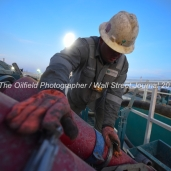 Geoffrey Spencer with Trinidad Drilling works onboard Trinidad Rig 433 operated by Fasken Oil and Ranch,April 11, 2018, north of Midland, Texas. CREDIT: James Durbin / TheOilfieldPhotographer.com MIDLANDOIL