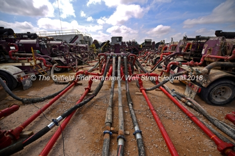 General view of pumping units and equipment at a Cudd Energy fracking operation on a Fasken Oil and Ranch well May 22, 2018, in Midland, Texas. CREDIT: TheOilfieldPhotographer.com