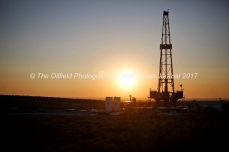 Trinidad Drilling rig 224 at sunrise Tuesday, July 18, 2017 in Reagan County, Texas.. James Durbin for the Wall Street Journal
