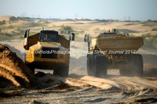 Heavy equipment is used to move sand at the Hi-Crush sand mine, Sept. 7, 2017, north of Kermit, Texas. MANDATORY CREDIT: Hi-Crush / TheOilfieldPhotographer.com