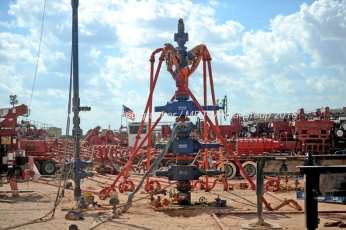 A wellhead on a fracking site managed by Octane Energy on Friday, Sept. 23, 2016 near Stanton. James Durbin/Reporter-Telegram