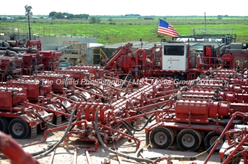 A series of Halliburton pumping units provide pressure to a wellhead on a fracking site managed by Octane Energy on Friday, Sept. 23, 2016 near Stanton. James Durbin/Reporter-Telegram